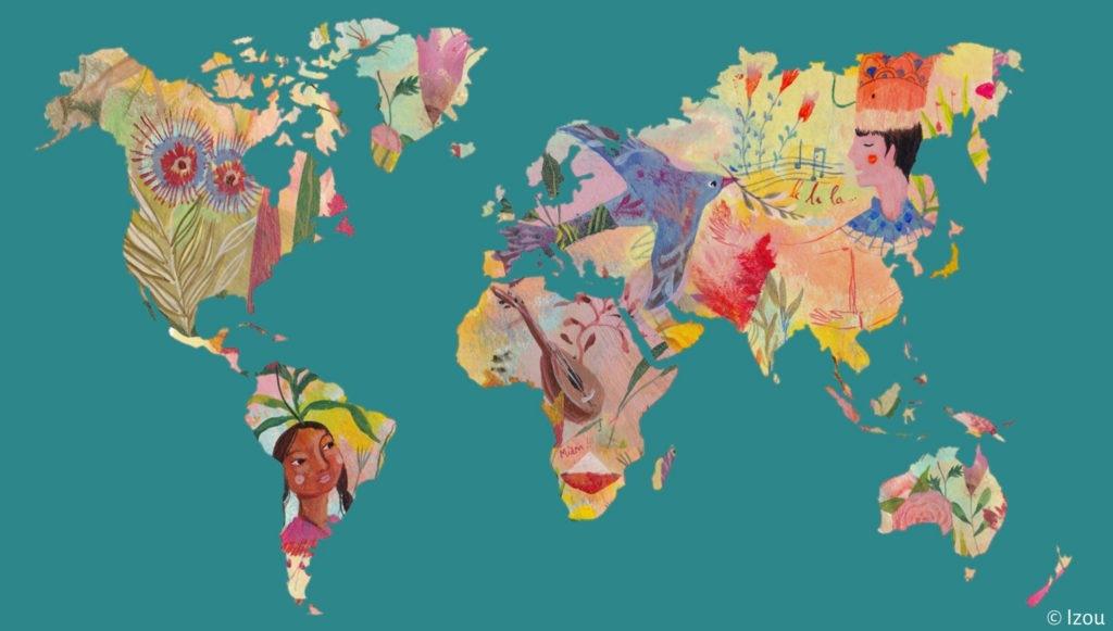 Carte du monde par Izou