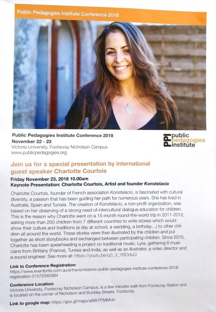 Annonce conférence Charlotte Courtois Melbourne